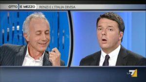 Marco Travaglio e Matteo Renzi durante  l'incotro a la La7