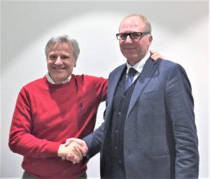 Il passaggio di testimone tra Luciano Patelli e Oscar Caironi